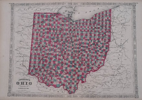 1864 Johnson's Map of Ohio