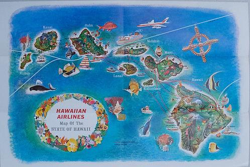1960 Hawaiian Airline Route Map of Hawaii