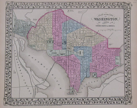 1878 Mitchell Map of Wahington D.C. and Baltimore