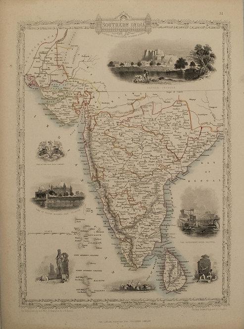 1851 Tallis Map of Southern India and Sri Lanka