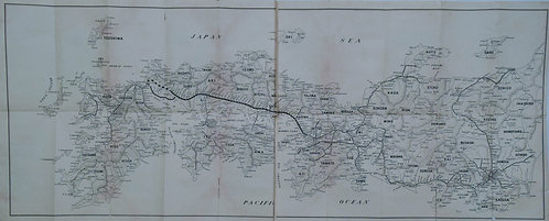 1950s Folding Map of Sanyo Railway Route in Japan