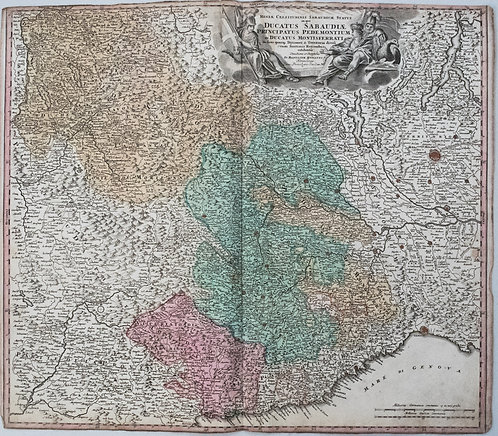 1720 Homann Map of Northwest Italy, the Alps and Lake District