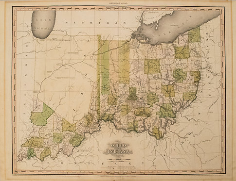 1819 Tanner Early Map of Ohio and Indiana