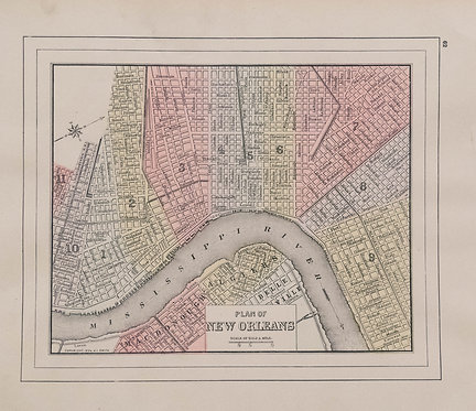 1894 Wanamaker/Mitchell Map of New Orleans