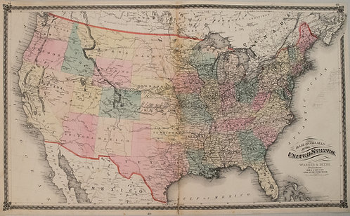1875 Warner & Beers United States Railroad Map
