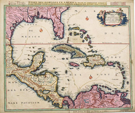 1730 Ottens Map of the Caribbean / West Indies