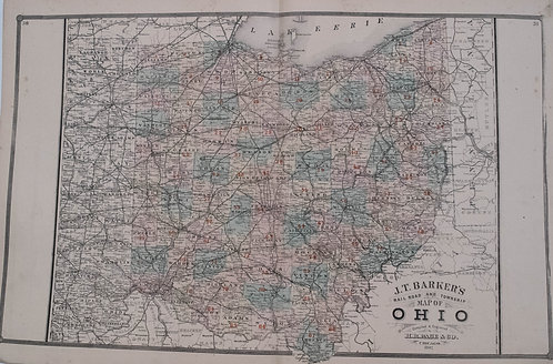 1887 Barker / Page Map of Ohio