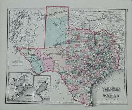 1873 Gray's Map of Texas verso Arkansas