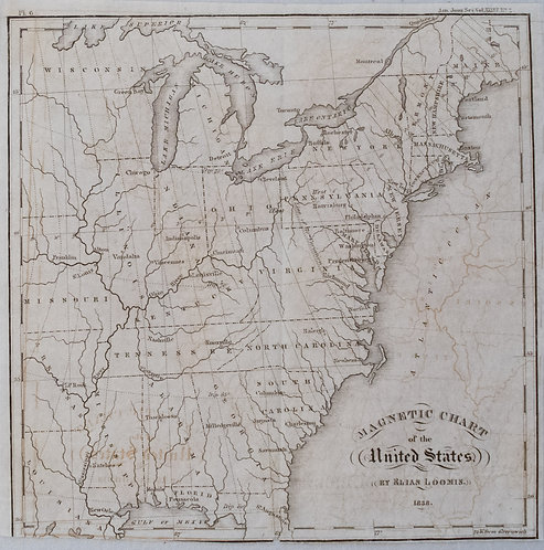 1838 Loomis Magnetic Chart of the US