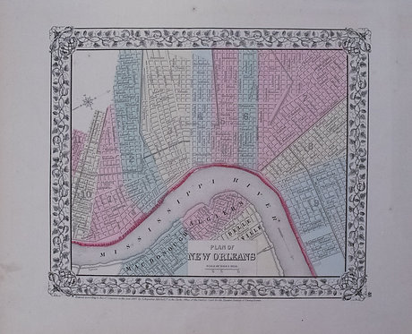 1867 Mitchell Map of New Orleans