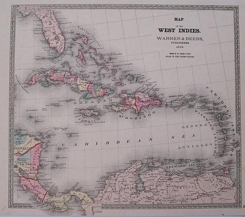 1872 Warner & Beers Map of the Caribbean