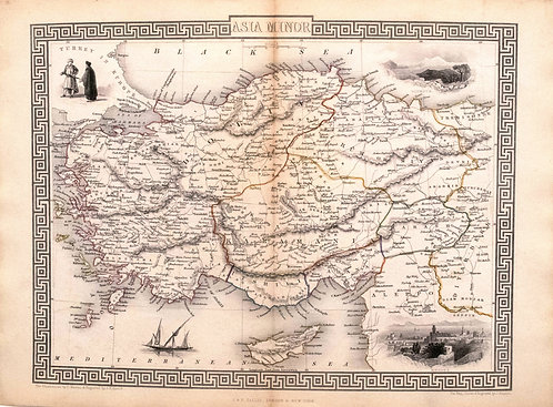 1851 Tallis Ornate Map of Turkey / Asia Minor