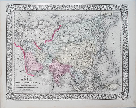 1871 Mitchell Map of Asia