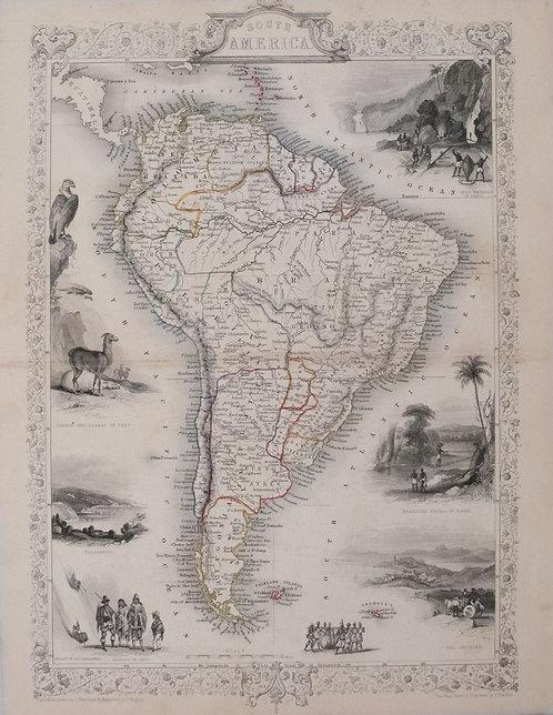 1851 Tallis Map of South America