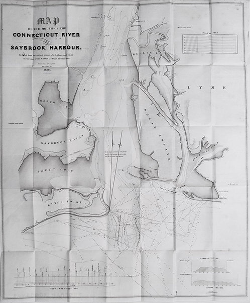 1839 Map of Connecticut River and Saybrook Harbor