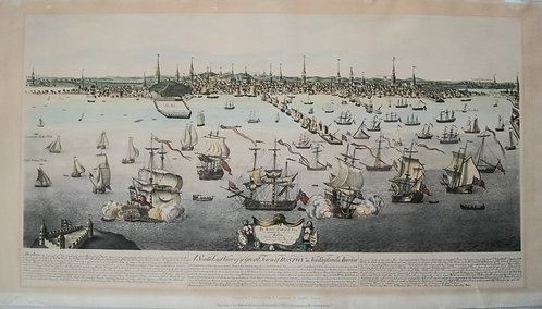 1848 Whitefield Bird's Eye View of Boston Based on 1743 Burton's View