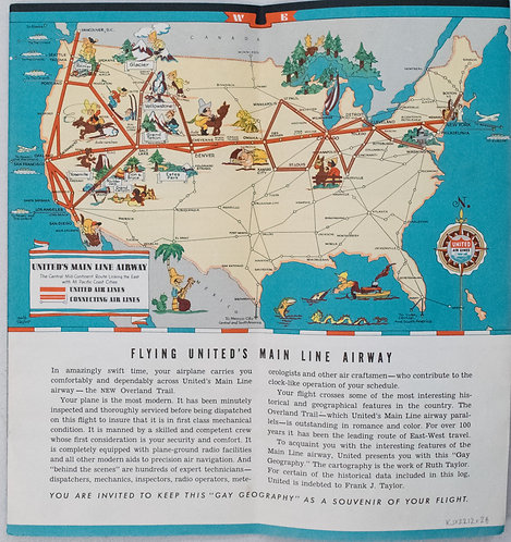1930's Taylor White Pictorial Map Set of United States for United Airlines