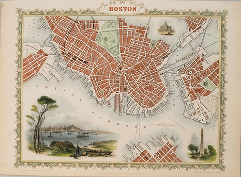 1851 Tallis Map of Boston