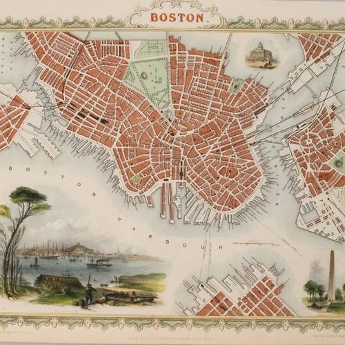 1851 Tallis Map Of Boston