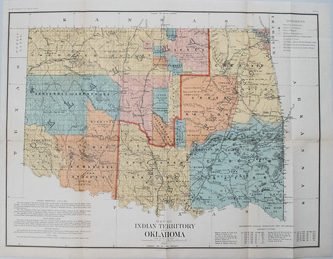 1890 Census Office Map of Indian Territory and Oklahoma