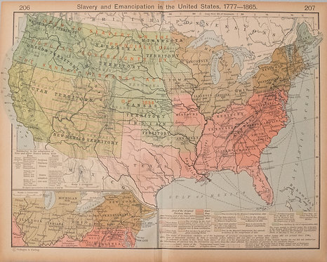 1927 Map of Evolution of US Slavery and Emancipation from 1777 to 1865
