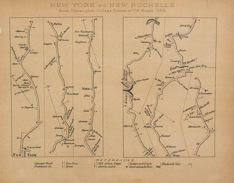 1789 but 1870 Colles Map from NYC to New Rochelle