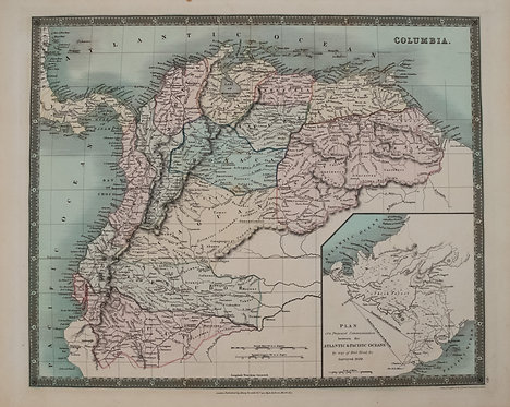 1831 Teesdale Map of Columbia, Venezuela, Ecuador