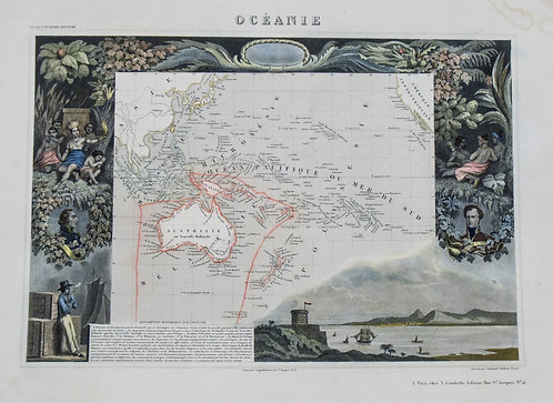 1850 Levasseur Map of Oceania