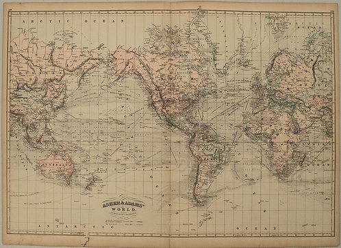 1872 Asher and Adams Map of the World