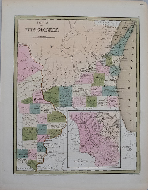 1838 Bradford Map of Iowa and Wisconsin