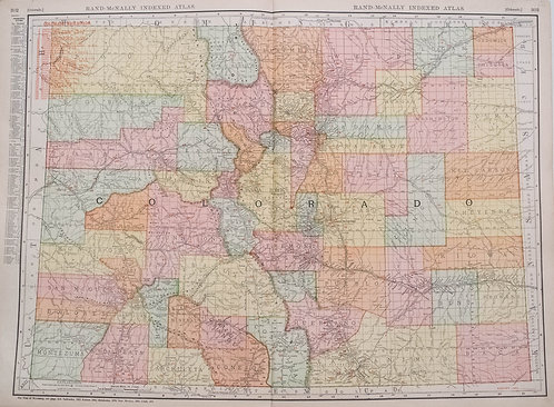 1911 Rand McNally Map of Colorado