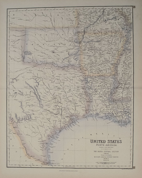1860 Fullarton Map of Texas (East/Central), Indian Territory, Louisiana and Arka