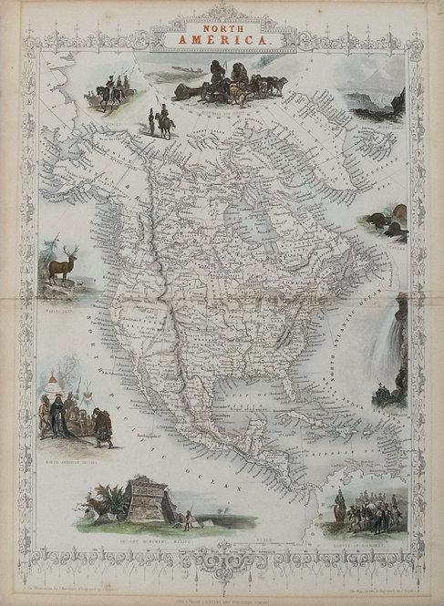 1851 Tallis Map of North America