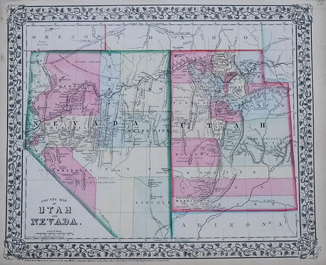 1870 Mitchell Map of Utah and Nevada