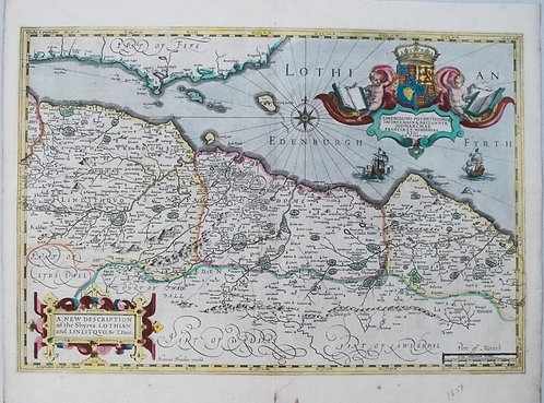 1638 Hondius Map of Edinburgh Environs in Scotland