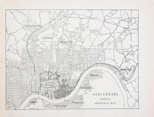 1887 Government Map of Cincinnati Sewage Line