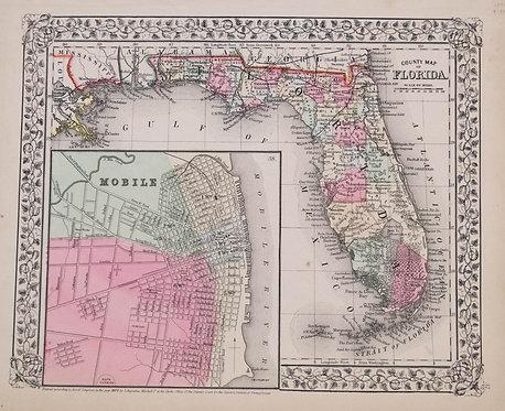 1870 Mitchell Map of Florida