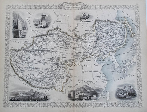 1851 Tallis Ornate Map of Tibet, China, Mongolia