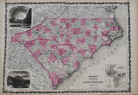 1864 Johnson Map of North and South Carolina