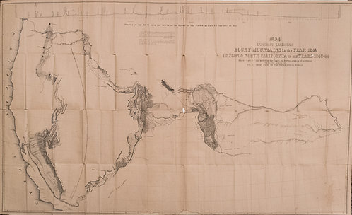 1842-44 Fremont Expedition Map of Rockies, OR and CA