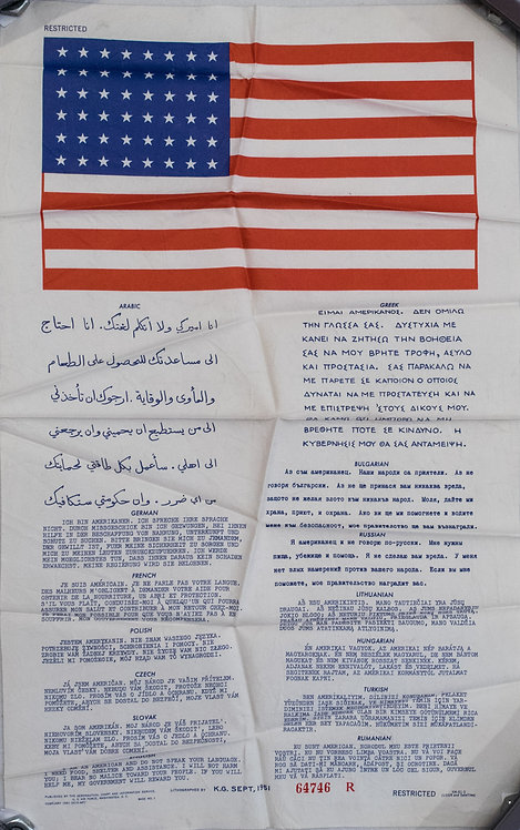 1951 US Air Force Blood Chit Notice Cloth