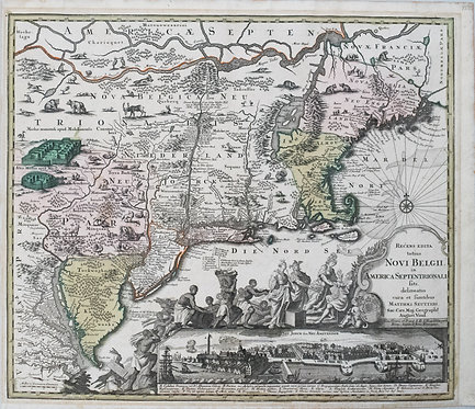 1730 Seutter Map of New England to Virginia
