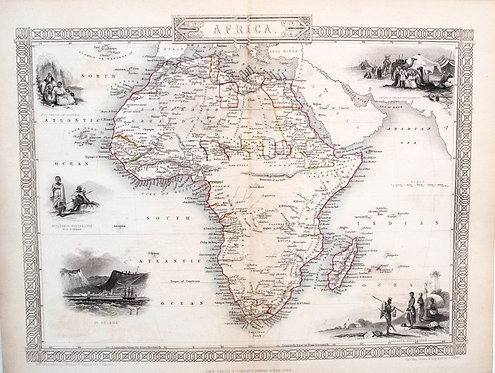 1851 Tallis Decorative Map of Africa