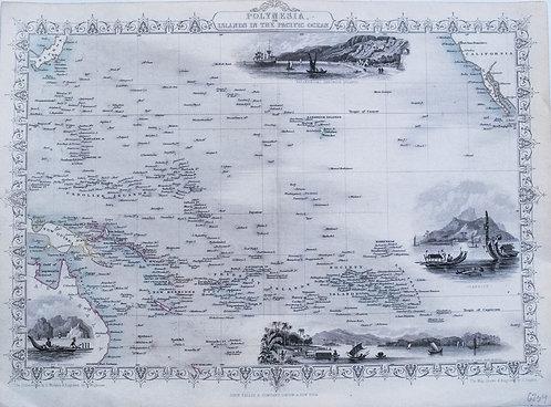 1852 Tallis Ornate Map of Polynesia & the Pacific