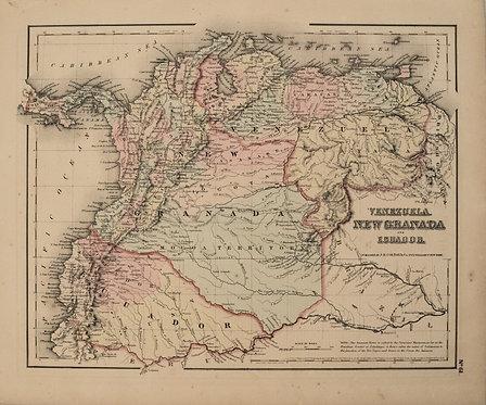 1857 Colton Map of Venezuela, Columbia and Ecuador
