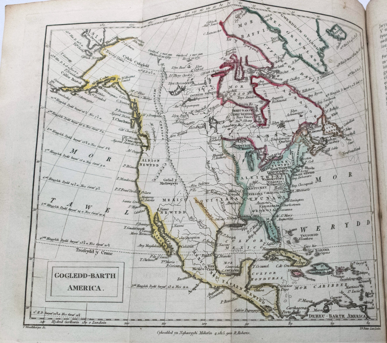 1816 Rare Welsh Language Geography Atlas Book