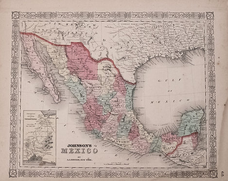 1863 Johnson Map of Mexico