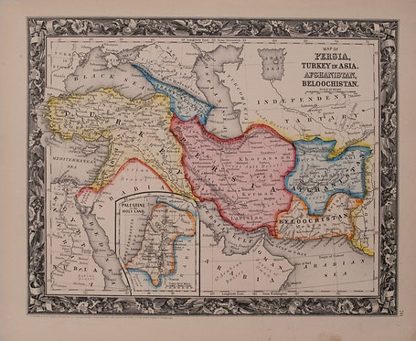 1860 Mitchell Map of Turkey, Persia, Afghanistan