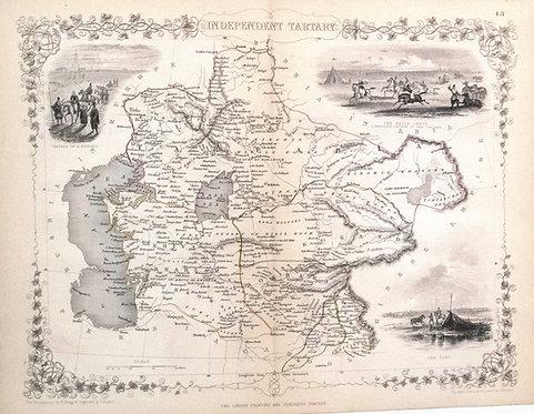 1851 Tallis Map of Tartary in Former USSR