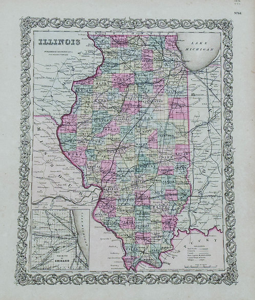 1856 Colton's Map of Illinois